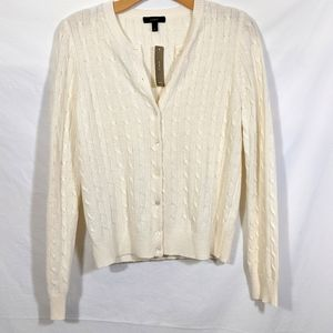 J Crew Cable Knit Button Cardigan
